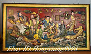 40and039and039old China Wood Painted Eight Immortals Crossing Sea Hanging Plaque Screen