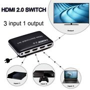 4k 1080p 3 Channel Hdmi 2.0 3x1 Switch Selector Video Converter Ps4 Laptop To Tv