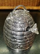 Godinger Silver Plated Beehive Honey Pot And Bee Dipper Serving Jar, Glass Insert