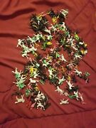 Vintage 100's Pieces Plastic Cowboys And Indians With Horses Miniature Hong Kong