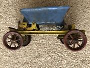 Original Blue Yellow Red Antique Tin Wind Up Toy Parts Truck Hauler Color Parts