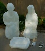 General Foam Blowmold Light Up Christmas 3 Piece Nativity In Pearl White