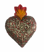 Hand Made Milagros Wood Sacred Heart Hand Carved Painted Gifts 8 X 5 6
