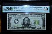 1934 500 Federal Reserve Note ✪ Pmg Vf-30 ✪ Fr 2201-c Lgs Light Green ◢trusted◣
