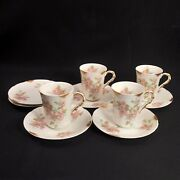 Limoges Pm De M Old Abbey Set 4 Chocolate Cups And 6 Saucers Pink Gold 1908-1913