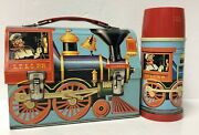 Vintage 1960's Casey Jones Dome Metal Lunch Box Thermos L.f. And C. Rr Locomotive