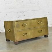 Hollywood Regency Campaign Style Brass Clad Two Drawer Chest Sarreid Ltd. Spain