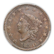 1820 1c Large Date Coronet Head Cent Pcgs Ms65bn Cac