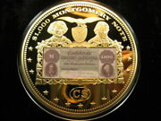 Xxl Gold Plated Proof Coin Civil War 1000 Csa 1861 Montgomery Banknote 466