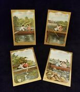Antique Postcards Set Of 4 Couple In Boat Valentine's Day Printed In Germany