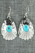 Turquoise And Sterling Silver Earrings - Roger Pino