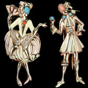 Nettie Rosenstein Sterling 18th Century Lady And Gentleman Pair Of Pin Clips