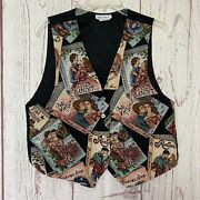 """Vintage Mirrors Tapestry Vest Novelty Romance Book Print Passion Love 18"""" Chest"""