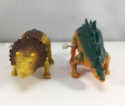 Wind Up Dinosaurs Triceratops Walking Plastic Toy Vintage Lot Of 2