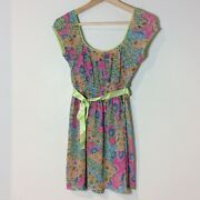 Ladies Colourful Patterned Long Top With Tie Ribbon By Kurt Muller Fits Size 8