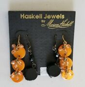 Rare Vintage Haskell Jewels By Miriam Haskell Black And Orange Dangle Earrings