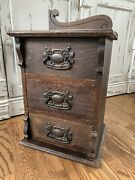 Antique Vintage Victorian Wooden Small Chest Of Drawers Cabinet Storage Box