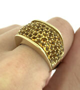 Vintage 4.0ctw Pave Citrine Statement Wide Band Ring In 14k Yellow Gold Size 7