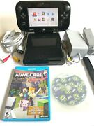 Nintendo Wii U Black Console And Gamepad With 2 Games Sensor Bar And All Wires