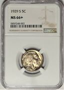 1929-s 5c Ngc Ms 66+ Superb Gem Plus Uncirculated Unc Buffalo Nickel Coin