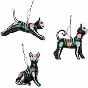Gallerie Ii Set Of 3 Day Of The Dead Paper Mache Cat Halloween Xmas Ornaments