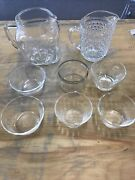 Lot Of 8 Clear Depression Pitchers And Custard Cups Come See