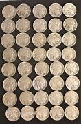 Roll Of 1921-p Buffalo Nickels - Mix Of Partial And Full Date Coins - 33947