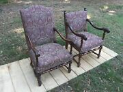 Old Or Antique Carved Arm Chair With Nice Paisley Fabric 2pcs