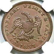 1837 Ht-73 Ngc Ms 64 Bn Half Cent Of Copper Hard Times Half Cent Token 1/2c