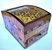 Vintage 1950and039s Inlaid Wooden Cigarette Box And Match Holder - Japan