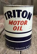 Nos Vintage Unopened 1qt Triton Motor Oil Tin Can Gas And Oil Advertising
