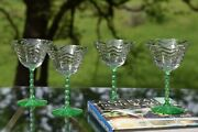 4 Vintage Green Uranium Twisted Stem Cocktail Martini Glasses 1940and039s