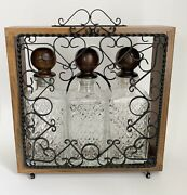 Vintage Tantalus With 3 Cut Glass Decanters Wood Stoppers Liquor Scotch Whiskey