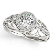 0.90 Ct Real Diamond Solid 14k White Gold Bridal Engagement Ring Sizes 5 6 7 8 9