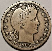 1909-o Barber Silver Quarter Fine F Better Date New Orleans Mint 25c Coin