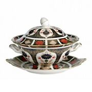Royal Crown Derby Old Imari 1128 Sauce Tureen And Stand 2nd Quality