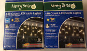 Lot 2 Christmas Holiday 140 Ct Warm White Led Icicle String Lights Merry Brite