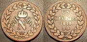 Napoleon The1st - 100 Days - Decime To L And039n Crowned 1815 Tb / Ttb F.131a / 1