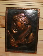 Vintage Copper Wall Hanging Plaque Woman Holding Flower