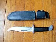 Vintage Buck 119 Fixed Blade Hunting Knife And Leather Buck Sheath 3 Lines Usa