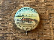 1andrdquo New Idea Manure Spreader Advertising Celluloid Pinback Implement Plow Tractor
