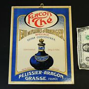 Antique Vtg C1920 Art Nouveau French Perfume Cardboard Store Display Sign Flacon