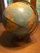Vintage Crams Imperial 12 World Globe On Metal Stand Made In U.s.a.