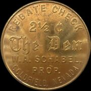 Goldfield Nevada 2 1/2 Cents Bawdy House The Den Rebate Check 521