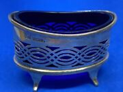 Antique Joseph Rodgers And Sons Sterling Silver Salt Cellar W/ Blue Glass Insert