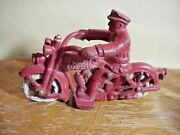 Hubley Harley Davidson Antique Cast Iron Toy Red Motorcycle Cop 5 1/2 Inch