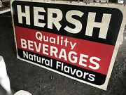 Extremely Rare Hersh Beverages Large Antique Tin Sign Schenectady Ny 1960andrsquos