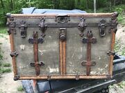 Antique James S Topham Flat Top Trunk 1890-1910 Canvas Lines Brass Wood Leather