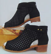 Unr8ed Cutout Perforated Peep Toe Black Suede Ankle Bootie Stacked Heel