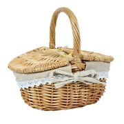 20xhandmade Wicker Basket With Handle Wicker Camping Picnic Basket With Double